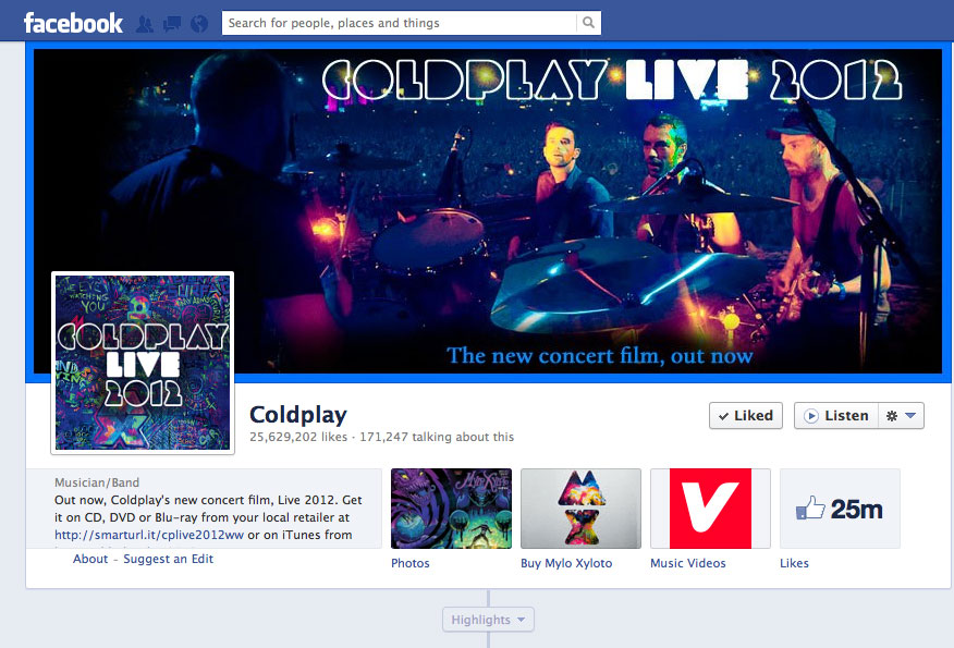 Coldplay: Mylo Xyloto Facebook