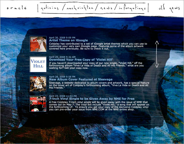 Coldplay: Viva La Vida Website