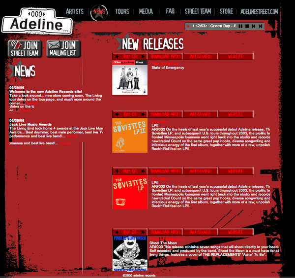 Adeline Records - Website Design
