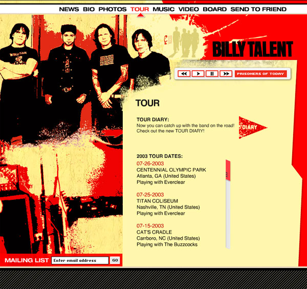 Billy Talent - Website Design