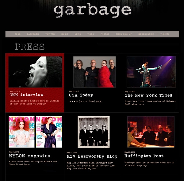 Garbage - Not Your Kind Of People Website