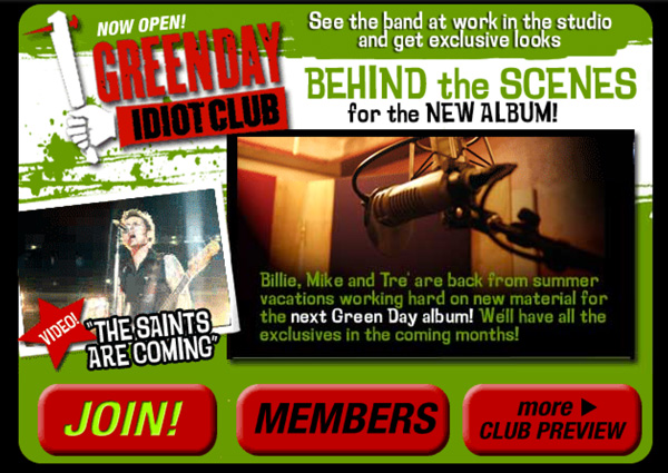 Green Day - The Idiot Club Fanclub Site