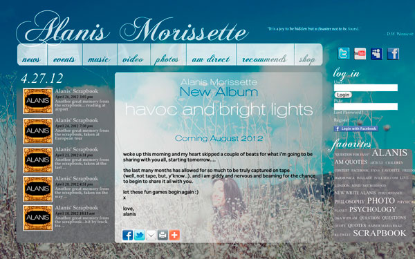 Alanis Morissette: Havoc and Bright Lights Website